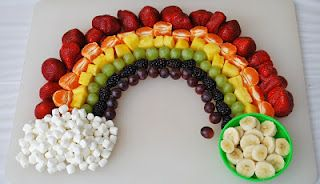 A-D-O-R-A-B-L-E! Can you picture the kids faces if you walked into their St. Patty's Day party with this rainbow fruit tray! I also saw this with gold chocolate coins in place of the bananas...not as healthy, but a definate kid pleaser!