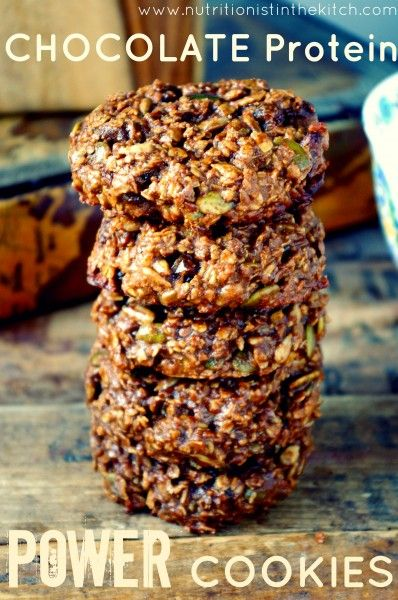 Chocolate Protein Power Cookies ( can be vegan!) via Nutritionist in the Kitch
