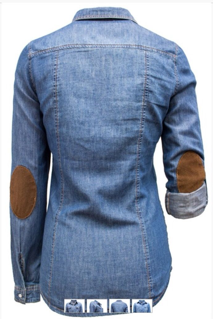 denim shirt with suede elbow patches fall winter