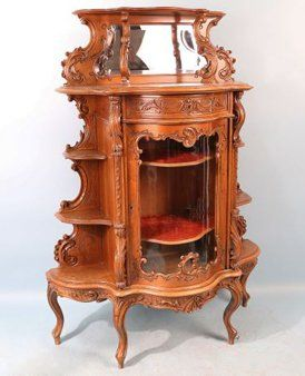 FRENCH BAROQUE OAK DISPLAY CABINET : Lot 64A