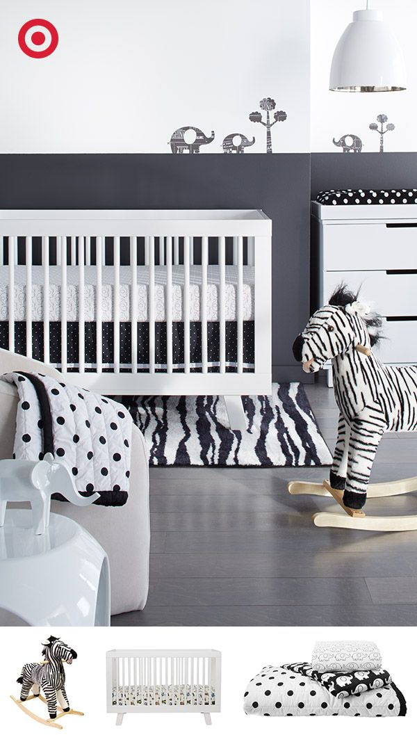 There's nothing like graphic black and white for a statement-making nursery. Start with a white Babyletto crib and matching furniture, then add coordinating accessories for a clean, modern look.