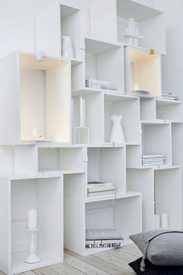 Fun and different shelving system.
