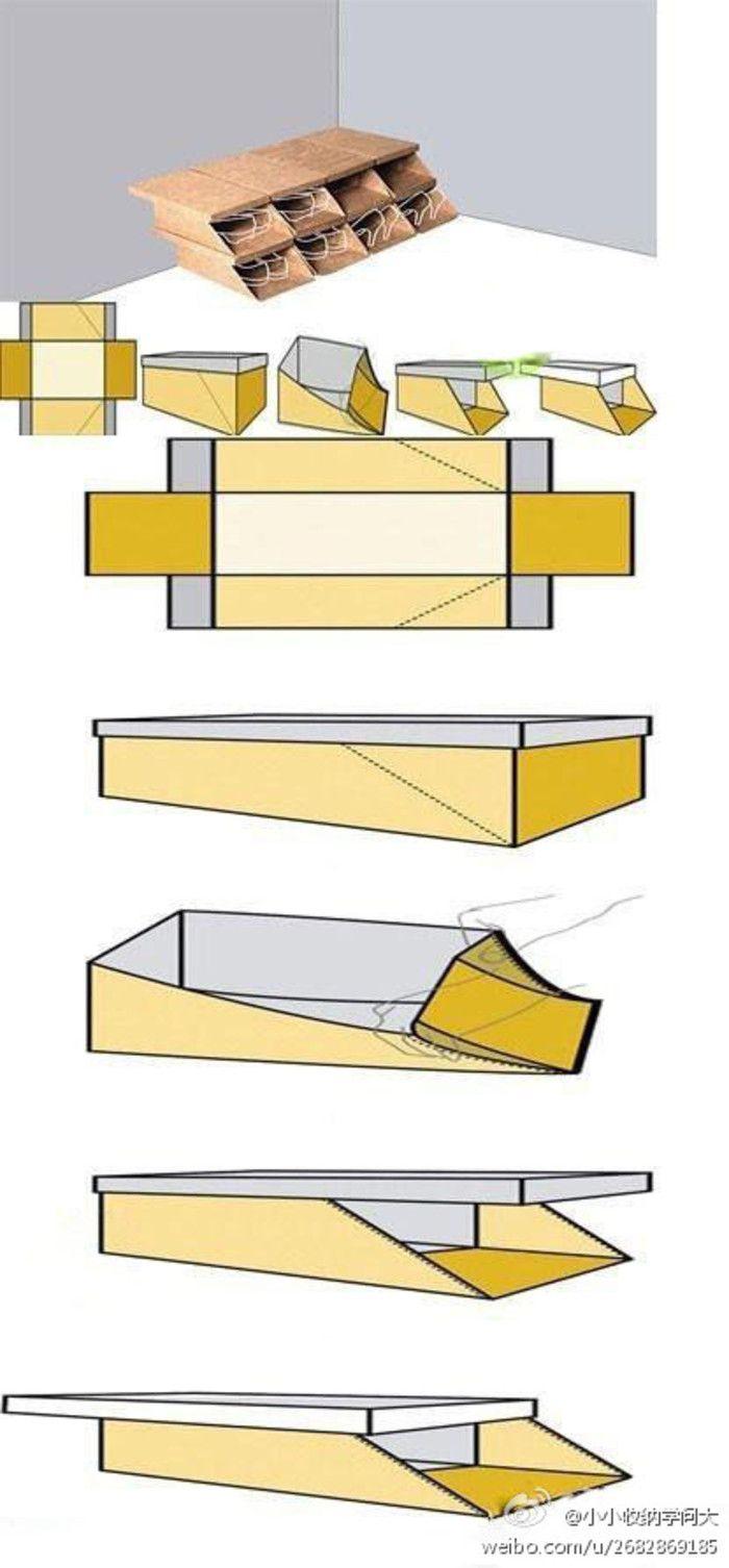 【DIY鞋盒】许多人在买了鞋子之后,会将鞋盒扔掉,太浪费了.如果在传统鞋盒的两个长边增加了两条方便对折的斜线,让鞋盒的侧面可以往内压平,就能变成一个开口的鞋盒多个这样的鞋盒.可以直接堆叠起来,变成一个简易鞋架,不会有灰进入,正面开口,方便存取鞋子.