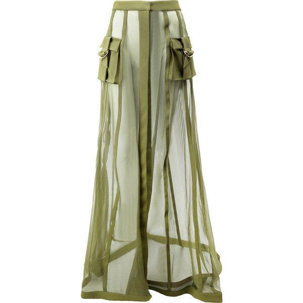 Balmain transparent military skirt ($5,635) ❤ liked on Polyvore featuring skirts, green, high-waist skirt, summer skirts, balmain skirt, sheer skirt and military skirts