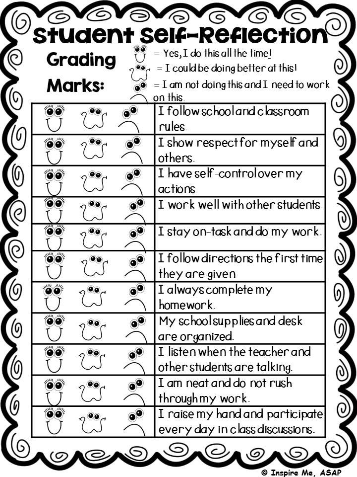 It's that time of the year again...time for report cards! I love to have my students fill out this self-reflection since our standards based report cards do not have a spot for characteristics of learning. This is a valuable tool to show parents at conferences or to send home with the report card.