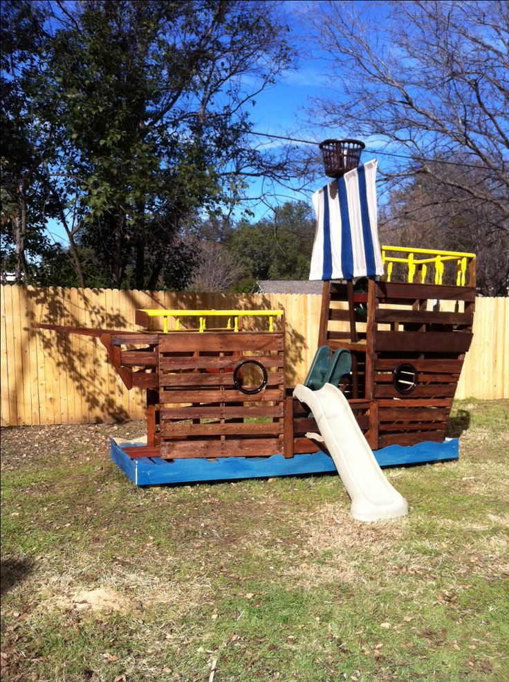 Pop's pirate ship for the grandchildren who love Jake and the Neverland Pirates. 95% of the ship and accessories are from reclaimed wood, pallets, and repurposed pieces. We added a new spy glass and helm. The cost was under $100.
