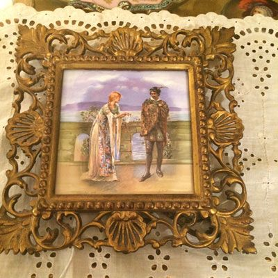Minton tile depicting  Hamlet and Ophelia in brass frame artist signed J.H. Bacon, Price on Request