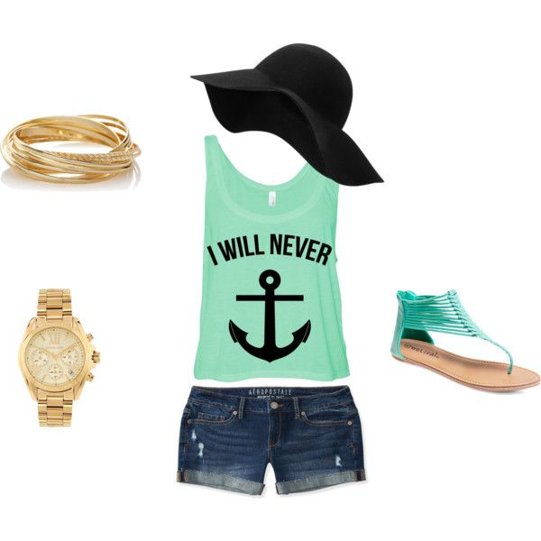 Oceanic Summer Days by mariecam on Polyvore featuring Aéropostale, Wet Seal, Michael Kors, The Limited and MANGO