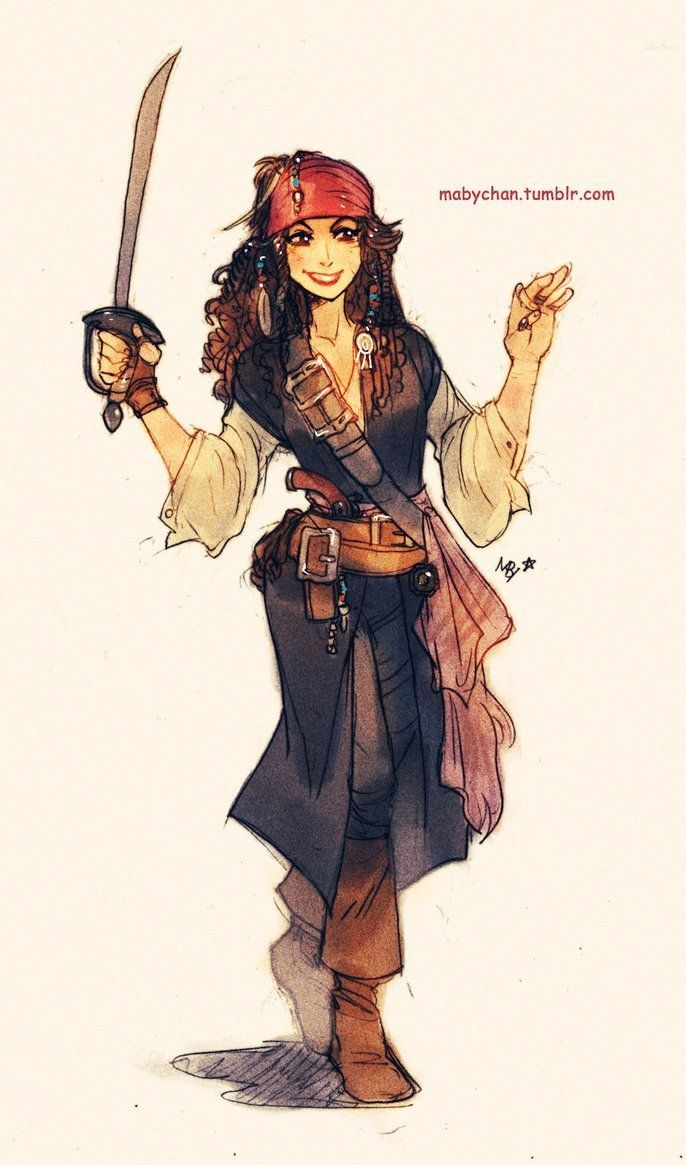 how to draw a female pirate