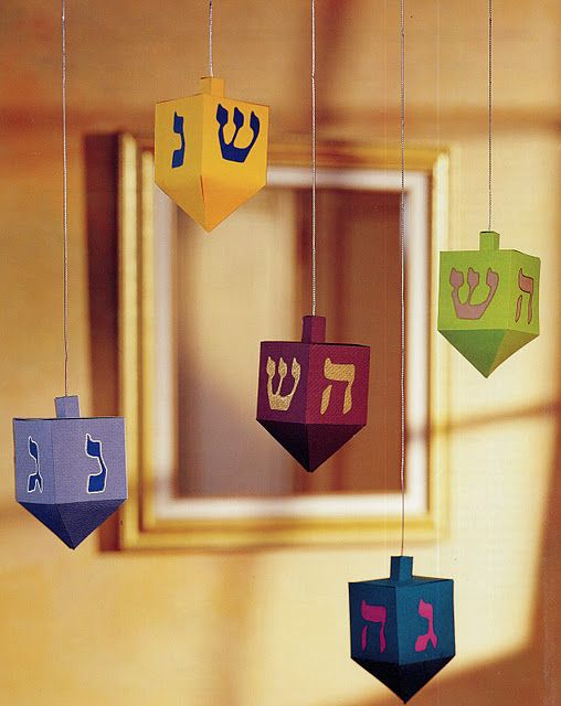 Paper Dreidels! Easily hung around your office for holiday flair!