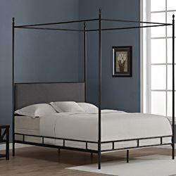 """Lauren Grey Upholstered Queen-size Canopy Bed; 86"""" high x 64"""" wide x 85"""" deep"""