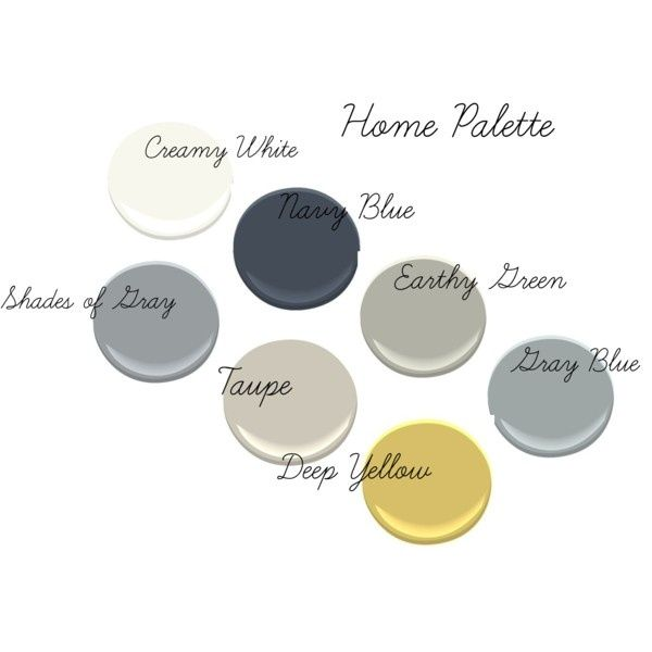 Benjamin Moore colors from upper left to lower right: Simply White, Hale Navy, Fieldstone, Half Moon Crest, Forget :), Revere Pewter, Luxurious Yellow