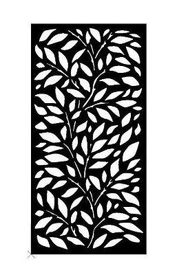 Decorative Garden Metal Fence Screen 'LINC LEAF' Laser cut 1800x900 Corten Steel