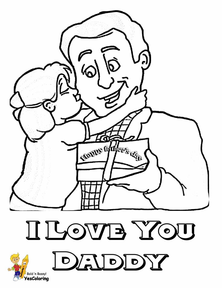 Print Out This Cool Father Day Coloring Pages! I Love You
