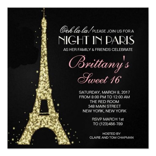Night in Paris Glitter Sweet 16 Custom Invitation