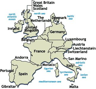 Western European Countries: Ireland, England, Portugal, Spain, France