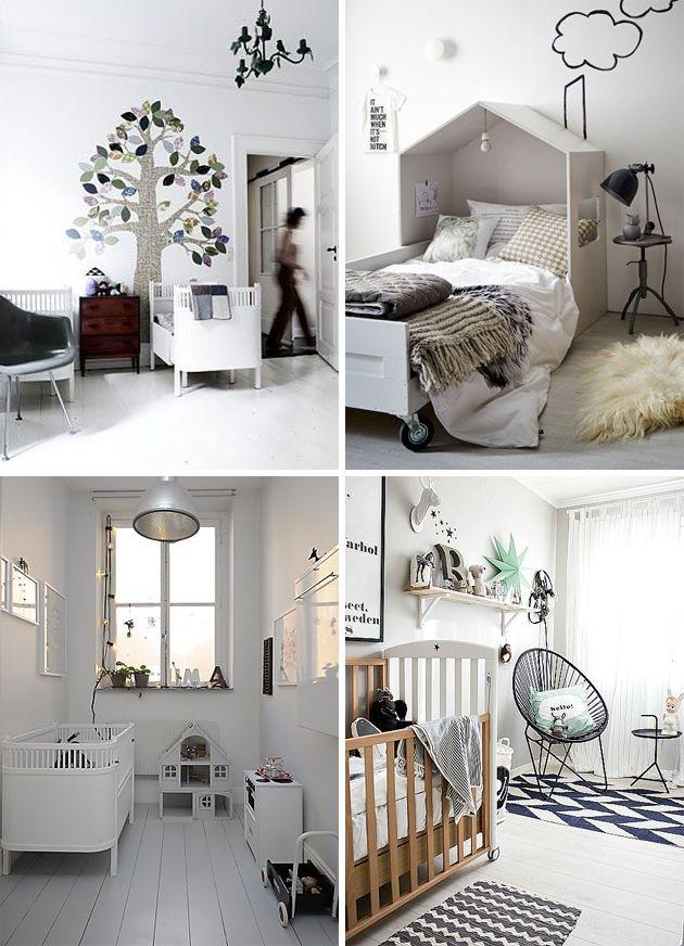 monochrome black and white kids room | wood