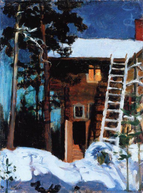 . Akseli Gallen-Kallela: Kalela in Winter (1896) via paintingDb
