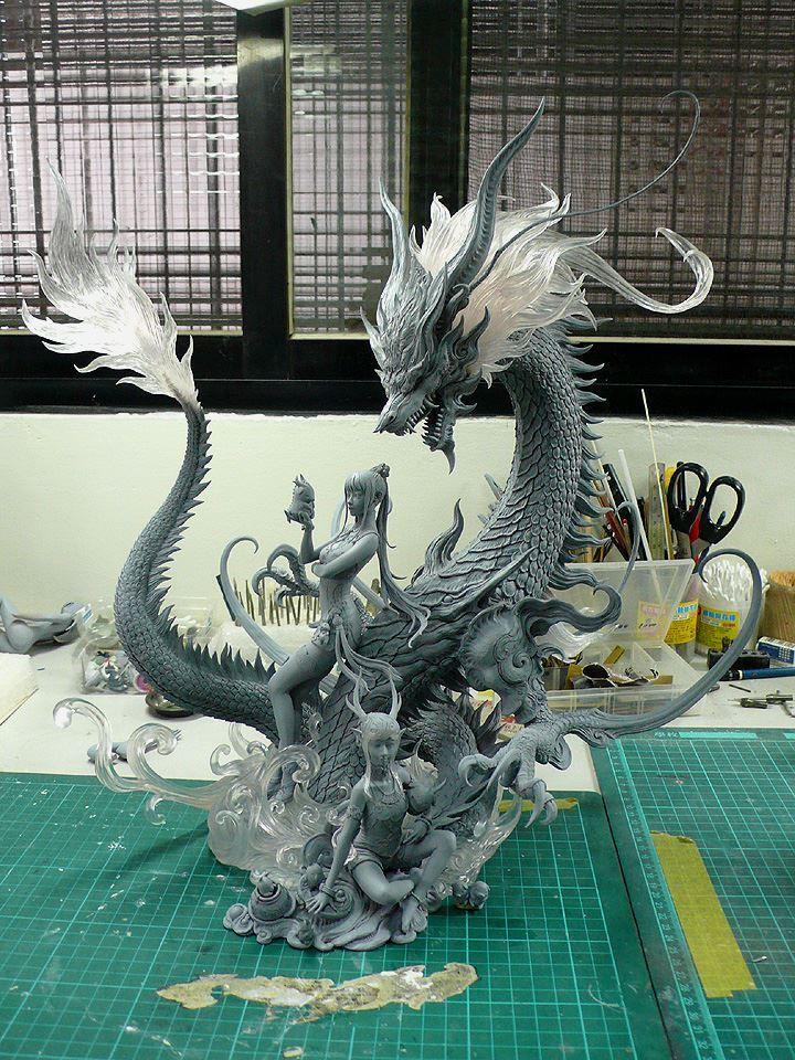 Dragão Chinês + Mulheres - Escultura