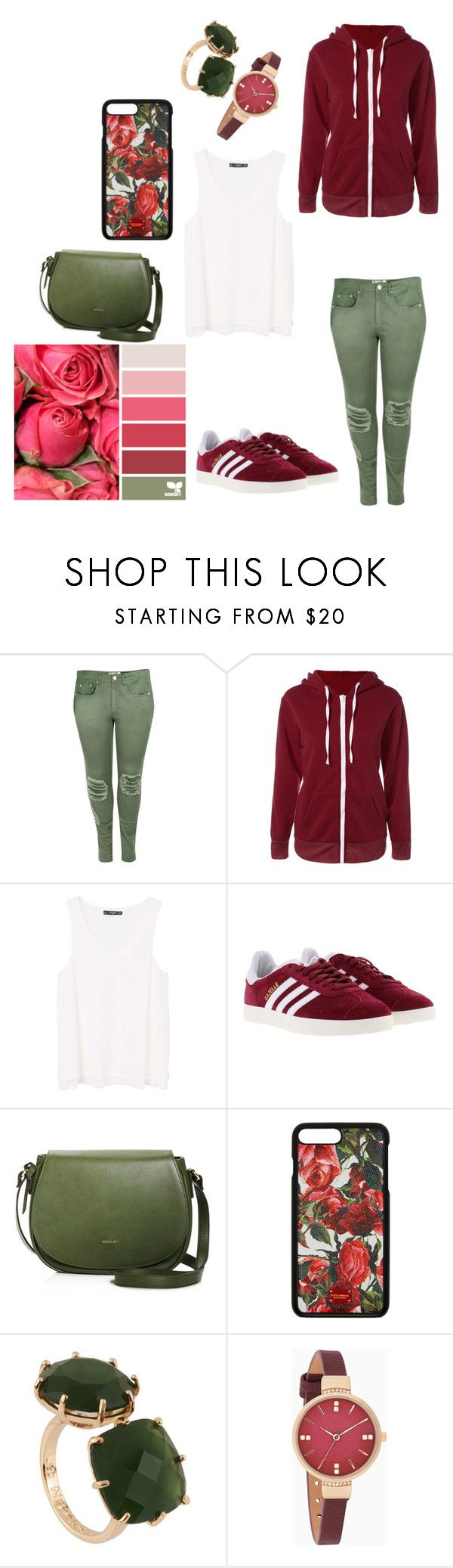 """rose"" by kiwi21drexel ❤ liked on Polyvore featuring Boohoo, MANGO, adidas, Angela Roi, Dolce&Gabbana and Les Néréides"
