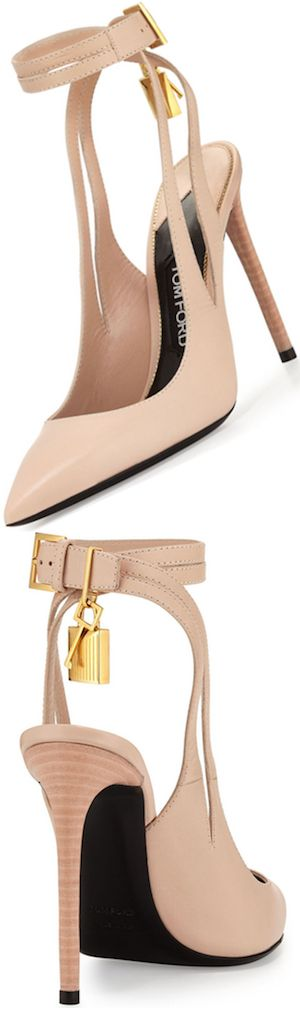 TOM FORD Leather Ankle-Lock 105mm Pump, Nude