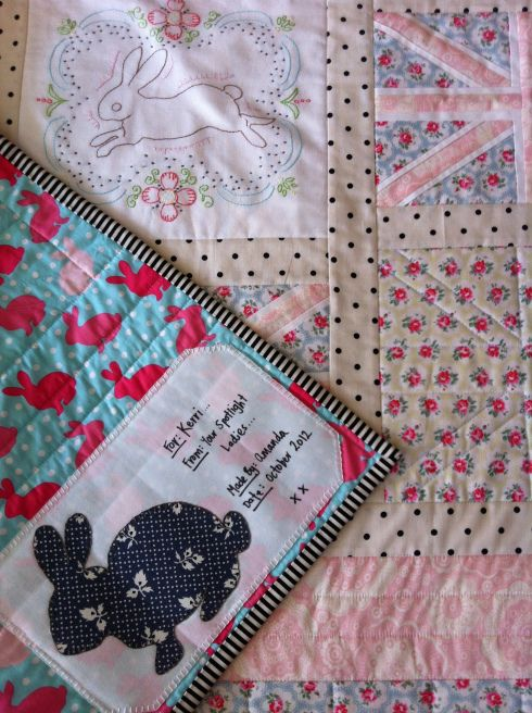 English Bunny Quilt (2012)...Love the signature tag