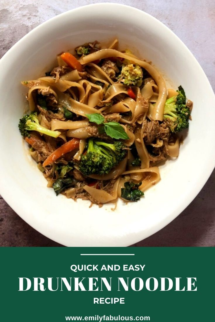 This Easy Drunken Noodle Recipe tastes just like your favorite take-out and takes less than 30 minutes to put together!…