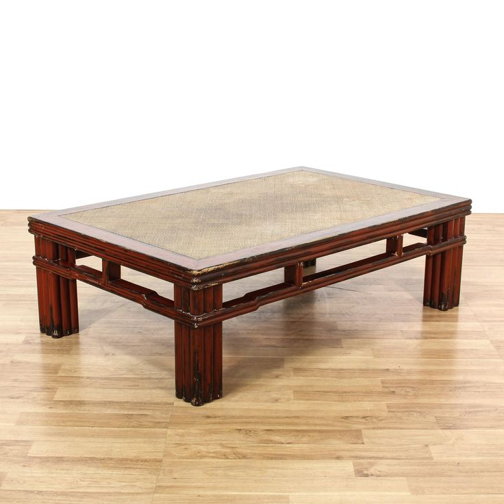 Asian Carved Red Painted Coffee Table
