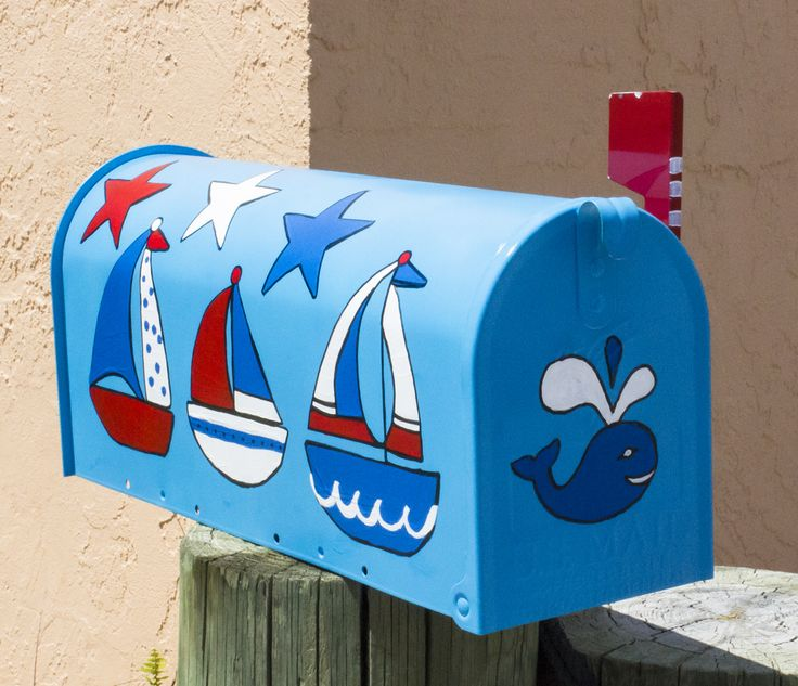 Patriotic Themed Sailboats Hand Painted Mailbox Buy Now