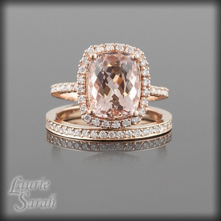 Morganite Wedding Set Rose Gold Morganite Wedding Set Morganite