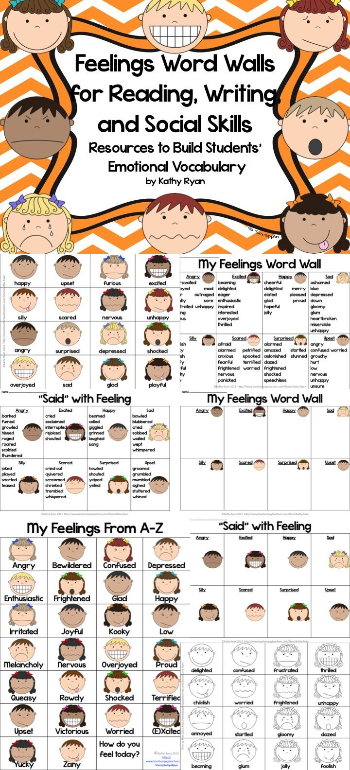 """$ Are you looking for a way to help your students increase their feelings vocabulary in their writing? Try using these Feelings Word Walls during your writing lessons.  Each product is available in color and black and white to meet your printing needs.  Give your students the tools they need to improve their writing. The """"right"""" word to describe feelings will be at their fingertips."""