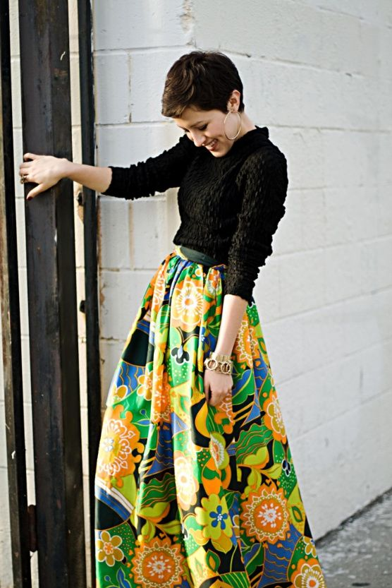 big hoops, super patterned skirt, simple black top, yes to all.