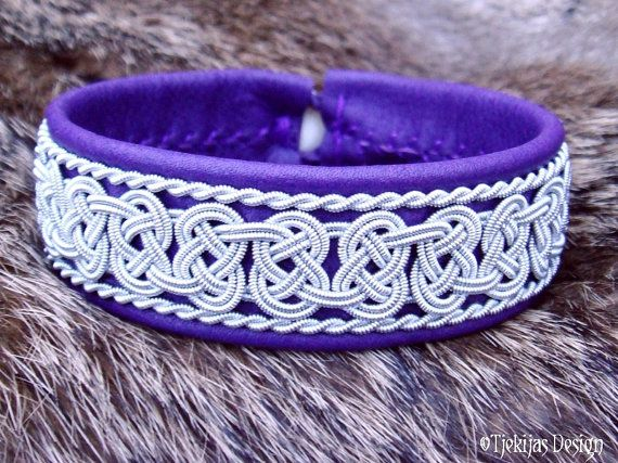 Swedish Viking Lapland Bracelet BEOWULF Sami Bracelet in Purple Reindeer Leather with Spun Pewter Braids - Handcrafted Nordic Elegance from Tjekijas Design.