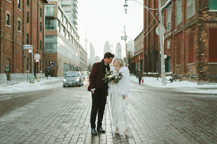 A fabulous NYE winter wedding Toronto's Distillery District. Reception at Archeo and photos at Balzac's. Photographer: Shauna Heron Photography