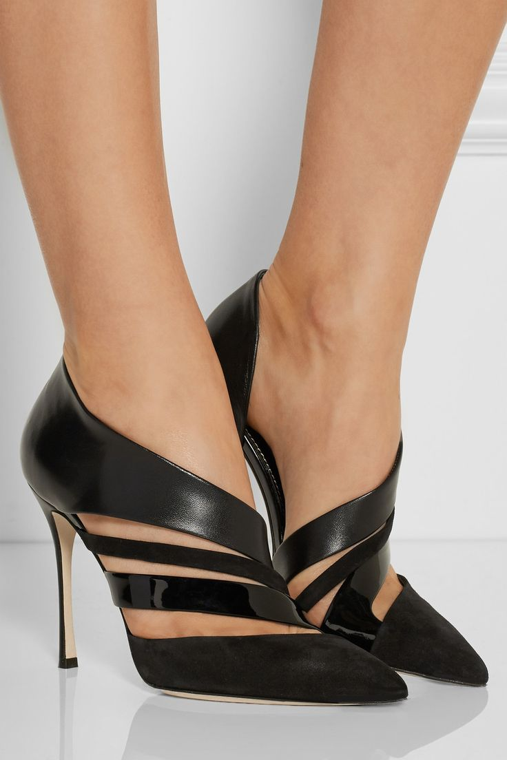 Sergio Rossi|Cutout suede and leather pumps|NET-A-PORTER.COM