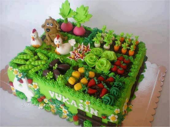 garden design birthday cake