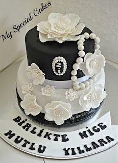 Black & White Anniversary Cake