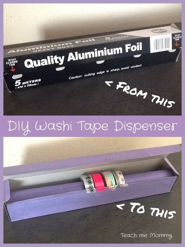 Aluminum foil packaging makes a great washi tape dispenser.