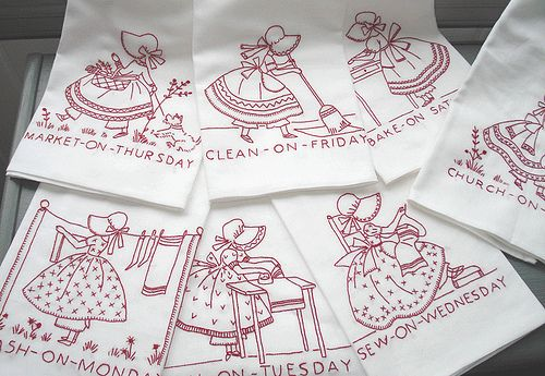 redwork Embroidery tea towels by Norththreads, via Flickr