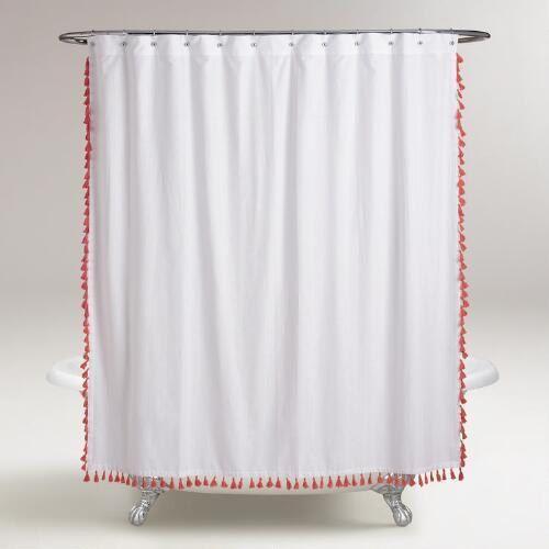 Rideau de douche extra long pompon - options de couleur
