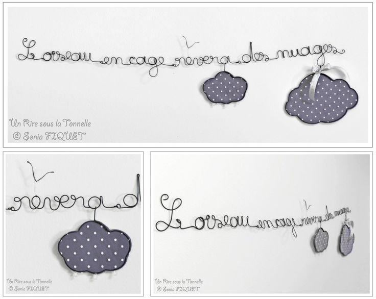 """Guirlande en fil de fer mots écriture """"L'oiseau en cage rêvera des nuages"""" : Accessoires de maison par un-rire-sous-la-tonnelle"""