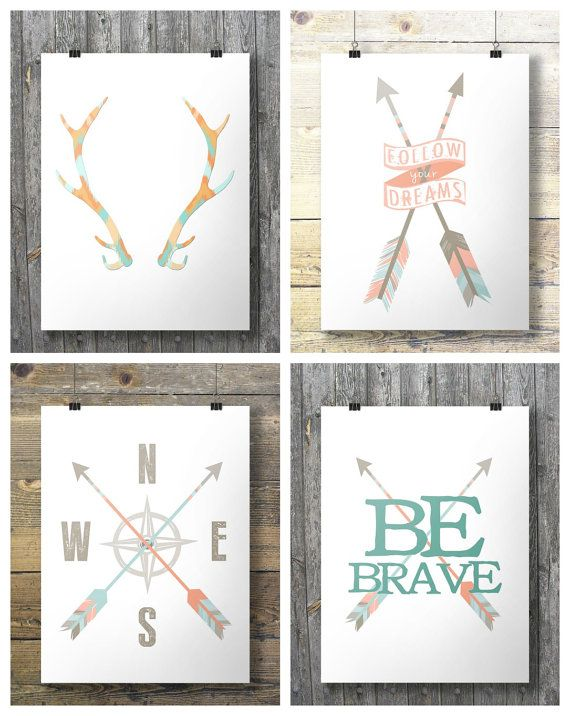 Antlers Arrow Compass Printable wall art INSTANT by SouthPacific (Art & Collectibles, Prints, arrow, arrows, tribal, compass, travel, antlers, be brave, arrow print, compass print, toddler art, nursery art, wall art prints, travel print)