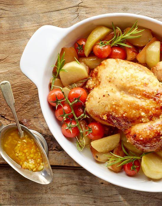 Miodowo-pomarańczowy kurczak z pieczoną kalarepą