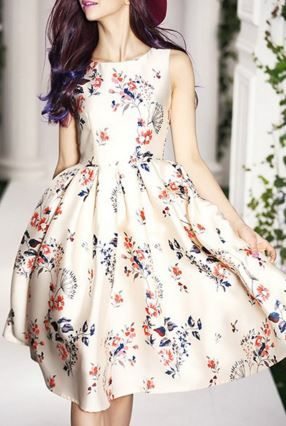 Sweet Vintage Floral Print Round Collar Sleeveless Dress For Women