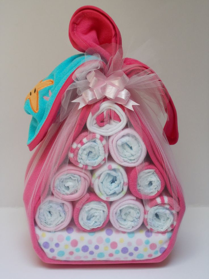 Diaper Stork Bundle for Girls  Baby Shower by sisterina on Etsy, $36.00