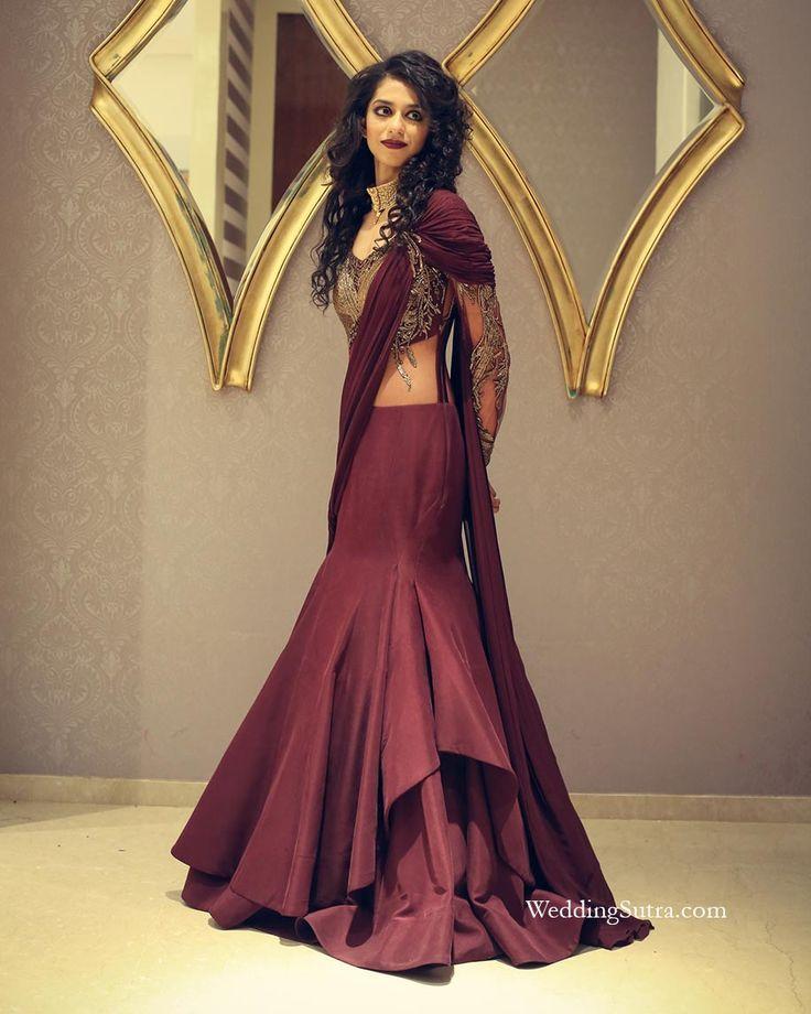 Wine-hued gown from Gaurav Gupta at WeddingSutra on Location