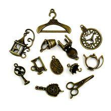 Beadia mix 12 estilos 106 unids/lote vintage encantos de bronce antiguo plateó el collar pendiente para las mujeres joyería jengibre snap encantos(China (Mainland))