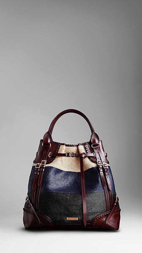 Raffia Burberry Whipstitch Bag