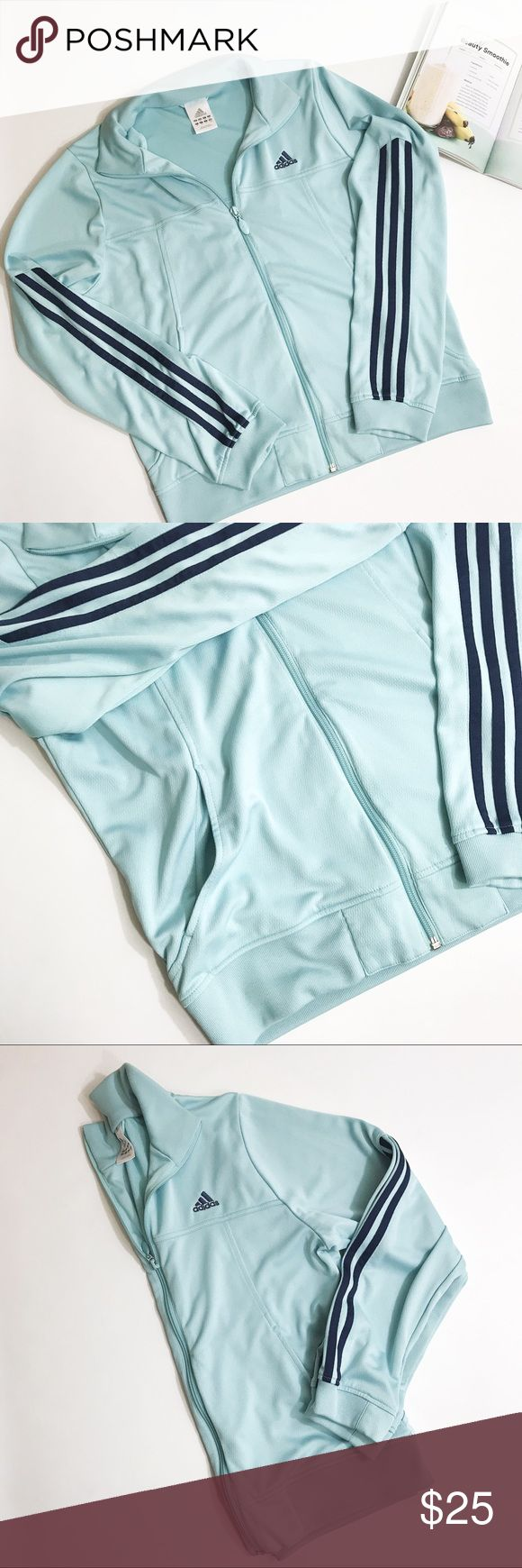 Adidas Blue Zip Up Jacket Adidas Blue Zip Up Jacket. Dark blue accents. Excellent condition. adidas Jackets & Coats