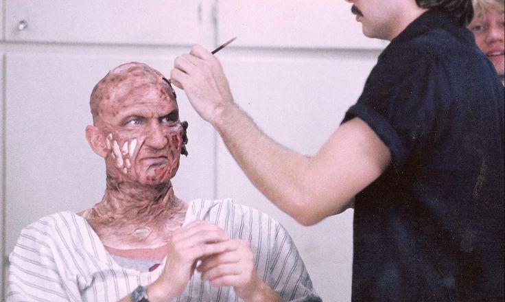 Robert Englund as Freddy Krueger in make-up behind the scenes on #ANightmareOnElmStreet (1984).